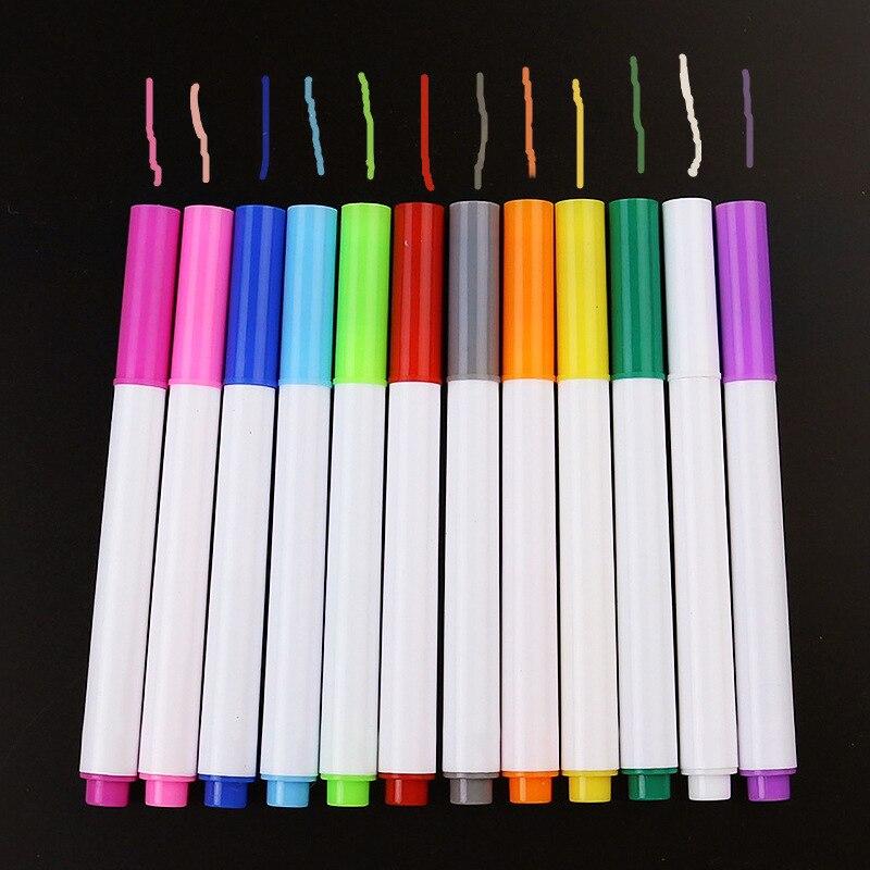 (12 cores) caneta de quadro-negro apagável, marcadores de giz líquido para pintura de quadro negro ou vidro ferramentas de ensino