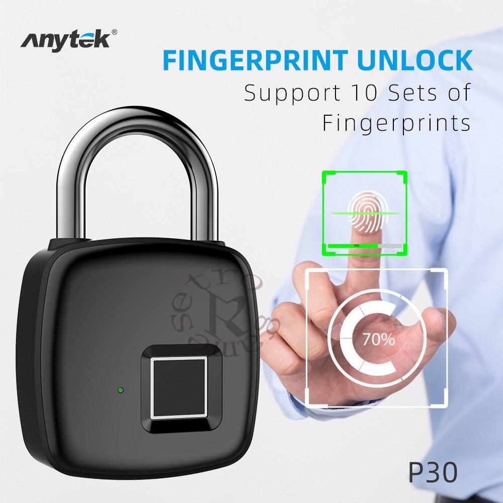 Candado de huella dactilar inteligente sin llave USB recargable para puerta de desbloqueo rápido Chip P30 de aleación de Zinc con autodesarrollo DHL, 20 Uds./lote