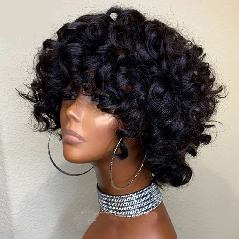 Spring Curl 200%Density Scalp Top Human Hair Wigs with Bangs Indian Remy Bouncy Curly None Lace Wigs Black Brown Color