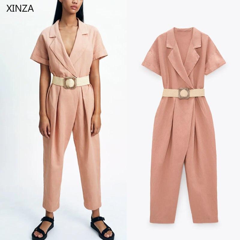 جمبسوت نسائي كتان ، ملابس صيفية ، أكمام قصيرة ، حزام ، وردي ، جيوب جانبية ، أزرار المفاجئة ، عتيق ، Za ، 2021