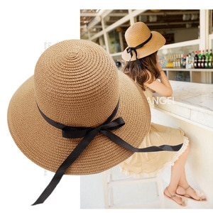 Leisure pure color summer straw hat female small fresh holiday beach shade fisherman hat outdoor shade scenic hat