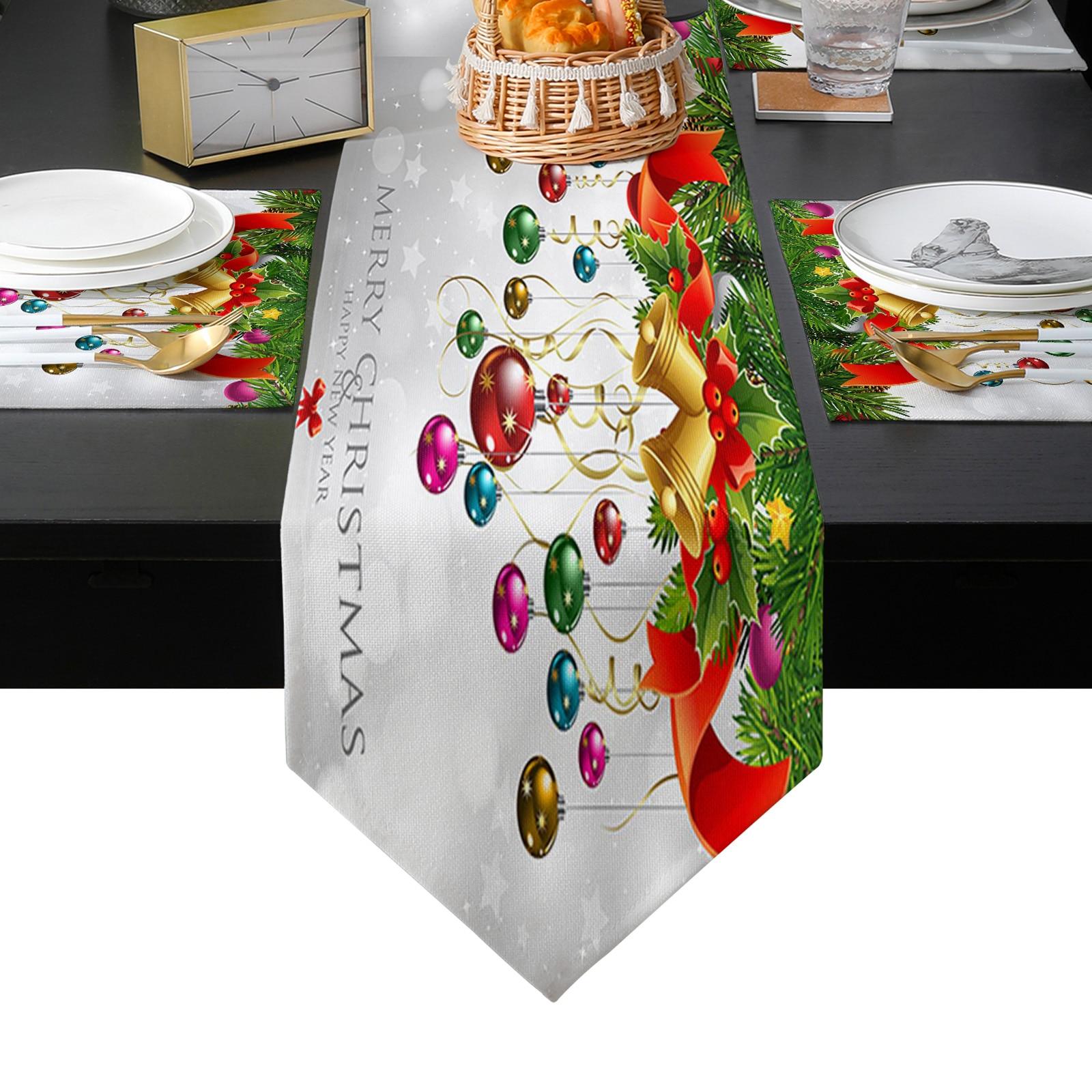 عيد ميلاد سعيد شجرة و جرس الجدول عداء الجدول الحصير غطاء للمنزل الزفاف مأدبة مهرجان حفلة التموين فندق الديكور