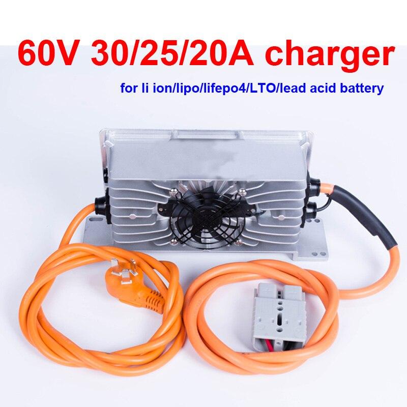 Cargador GTK 60v 30A 60v 25A 20A cargador de batería de litio de voltaje 16s 67,2 v li ion 20 cargador de ácido de plomo inteligente s 73v 25s 70v LTO