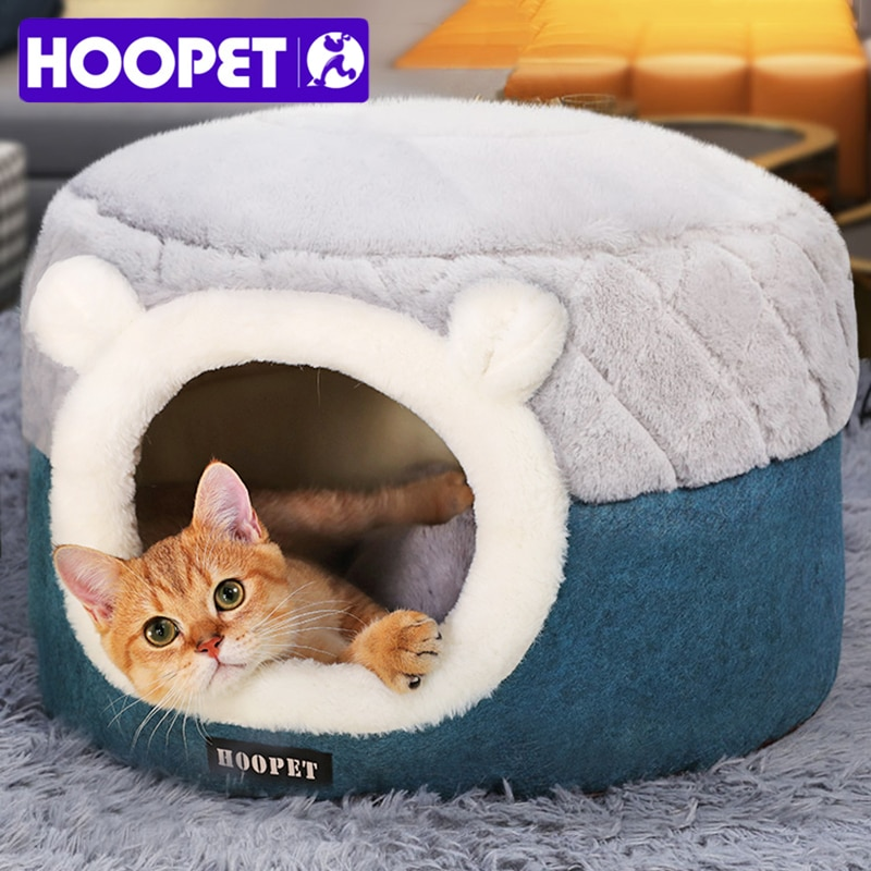 aliexpress - HOOPET Cat Bed House Soft Plush Kennel Puppy Cushion Small Dogs Cats Nest Winter Warm Sleeping Pet Dog Bed Pet Mat Supplies