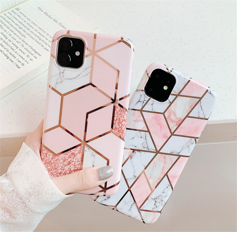 Geometric Marble Texture Soft IMD Phone Case For Xiaomi 10 9 cc9 cc9e Pro A3 Lite Cover For Redmi Note 8T 8 8A 7 K20 K30 Caqa