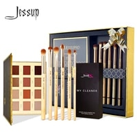 jessup 6pcs bamboo eyeshadow brush set brush makeup brush cleaner sponge12 color eyeshadow palette gift box packing e711