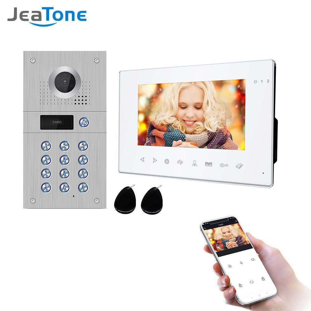 Jeatone 7 Inch Wireless Wifi 960p Video Intercom for Home IP Video Doorbell Password Unlock AHD Screen Wifi Intercom System
