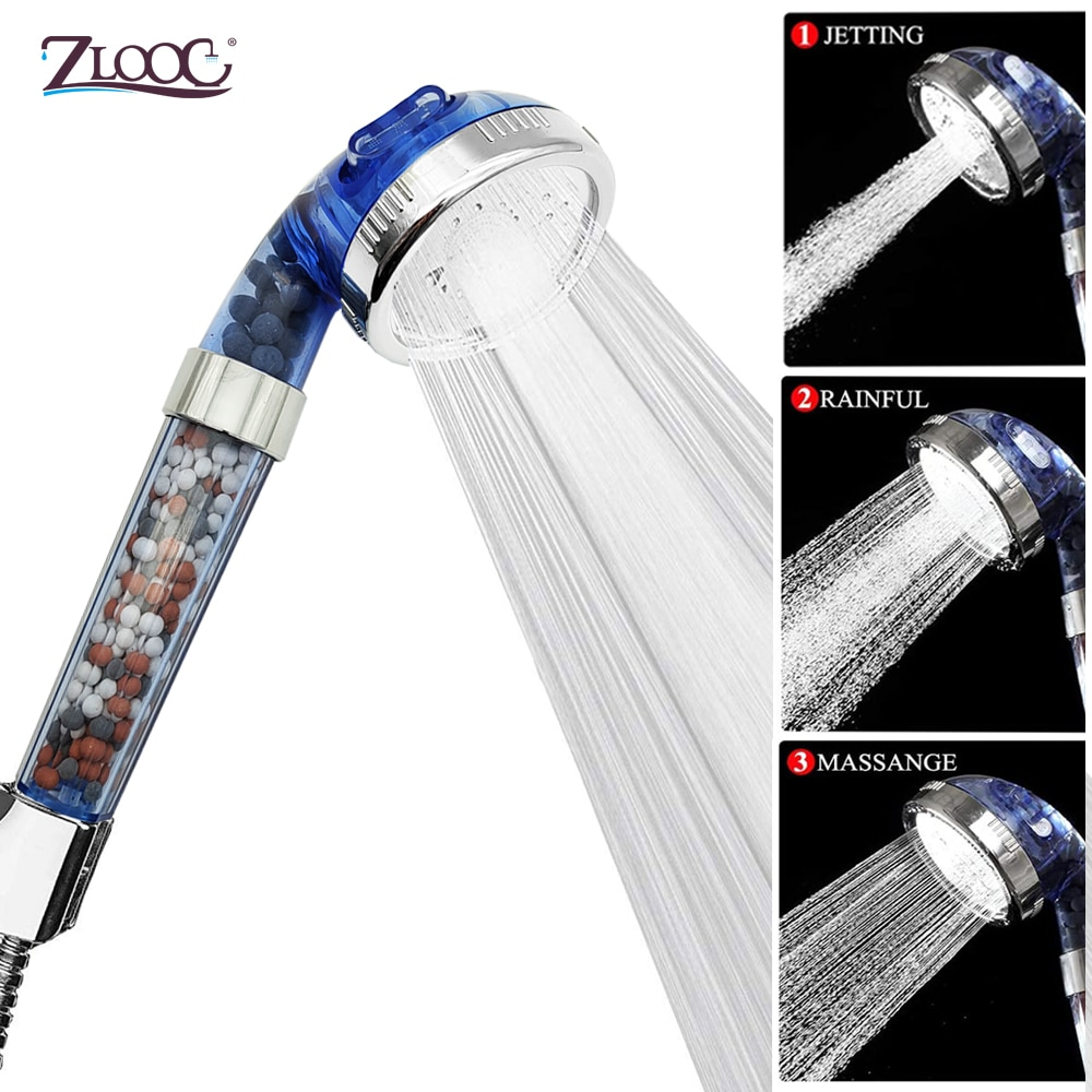 Zloog Shower Bath Head 3 Mode Adjustable High Pressure Handheld Bio-active stone Filter Shower Head with Activated Ceramic Balls