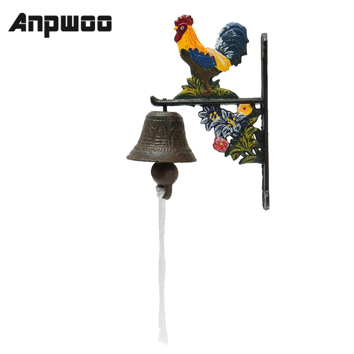 Anpوو-جرس باب معدني عتيق الطراز ، الديك ، ديكور حديقة المنزل ، التحكم في الوصول