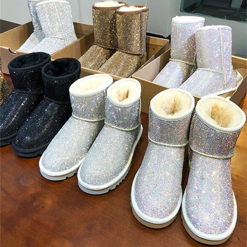 19 شتاء جديد أحذية بوت قصيرة الأغنام الفراء واحد حجر الراين كامل الماس الثلوج الأحذية الدافئة مقاوم للماء أحذية نسائية في الأحذية حجم كبير
