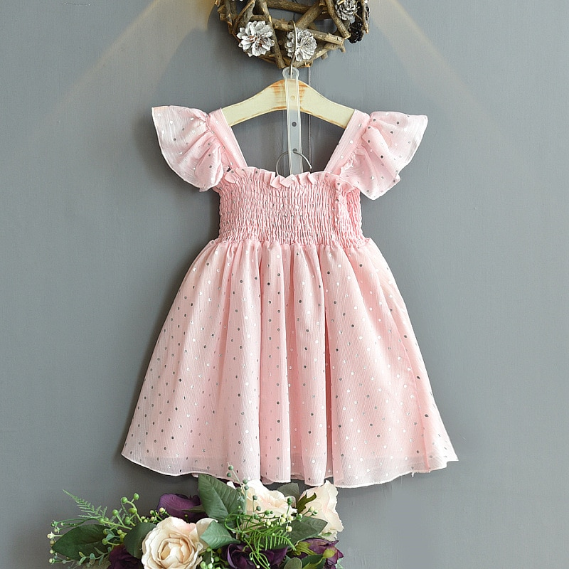 Kids Dress Baby Girls Clothes Casual Dots Birthday Pink Evening Fairy Summer Skirt Cute Princess Beauty Elegant Tulle Costume