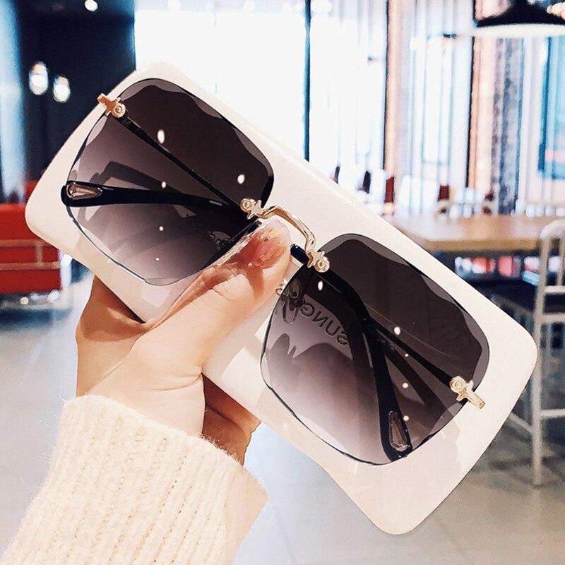 Очки солнцезащитные женские квадратные без оправы, роскошные брендовые дизайнерские модные градиентные солнечные очки с режущими линзами,...