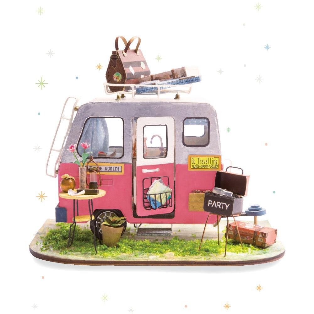 Casa de DIY para muñecas Robotime con muebles casa en miniatura de Madera Juguetes de muñecas para regalo de niñas DGM04
