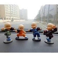 4pcsset universal drunken cartoon little monk doll decoration auto dashboard car ornament toy gift car ornaments