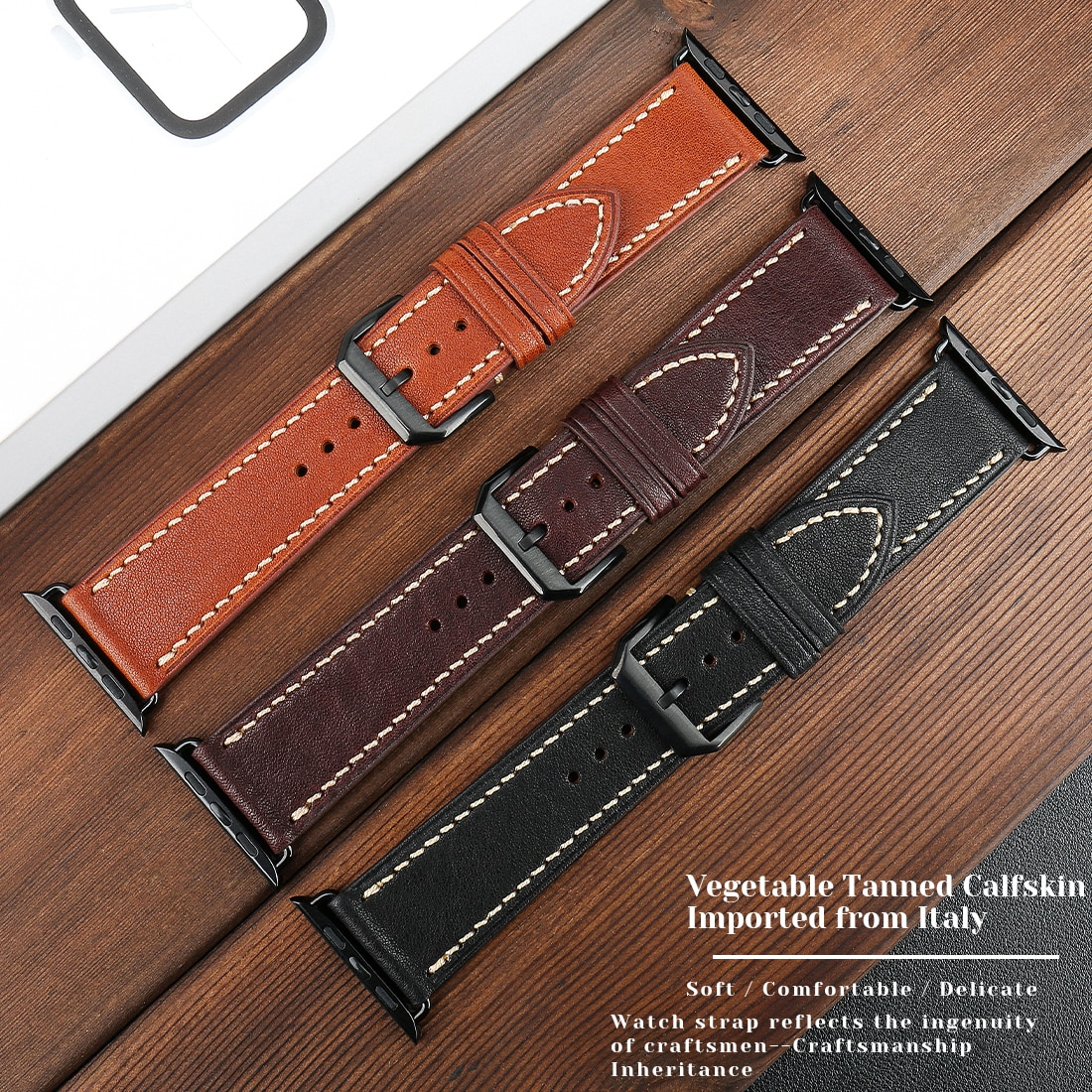 strap for apple watch 6 band 44mm 40mm 42mm 38mm leather replacement strap for iwatch apple se series 6 5 4 3 2 1 bracelet Cowhide Leather Band For Apple Watch 6 5 4 SE Band Business Leather Bracelet 44mm 42mm 40mm 38mm Strap For iwatch Series 3 2 1