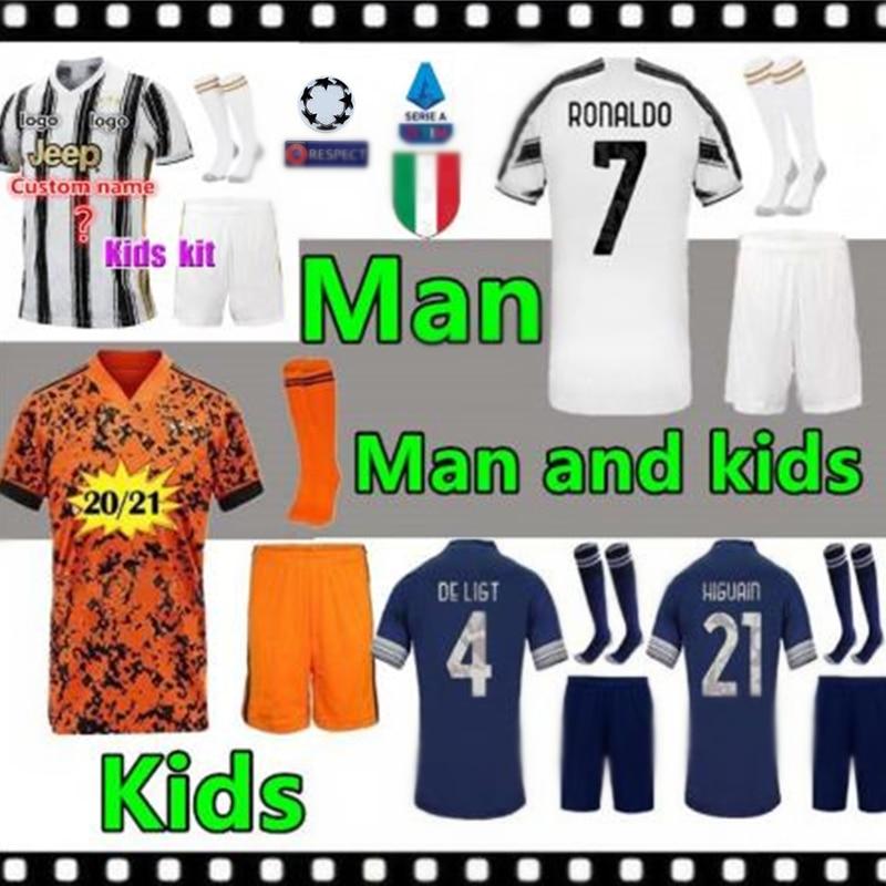 Uwen 2021 remendo novo juvees adultos e crianças kit camisa de futebol de casa ronaldo de ligt dybala 2020-21 criança juvenis camis