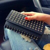 new fashion female wallet punk rivets teen girl women wallets phone pocket purse pu leather card holder clutch money bag