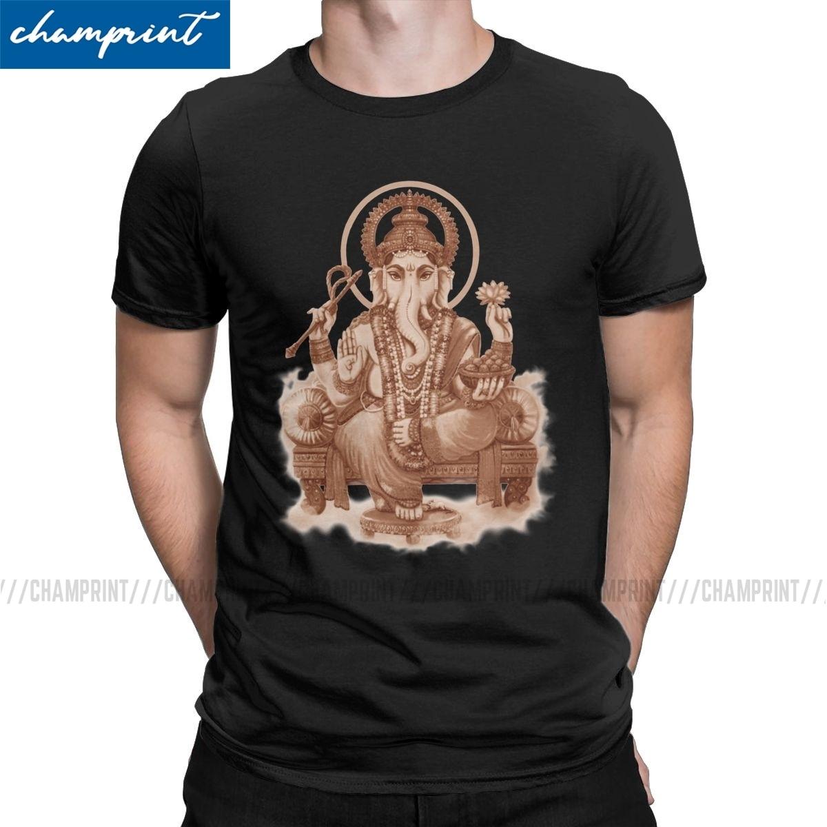 Ganesha The Remover Of All Obstacles T Shirt Men Novelty T-Shirts Shiva Lingam God India Hindu Tees Short Sleeve Clothing 6XL