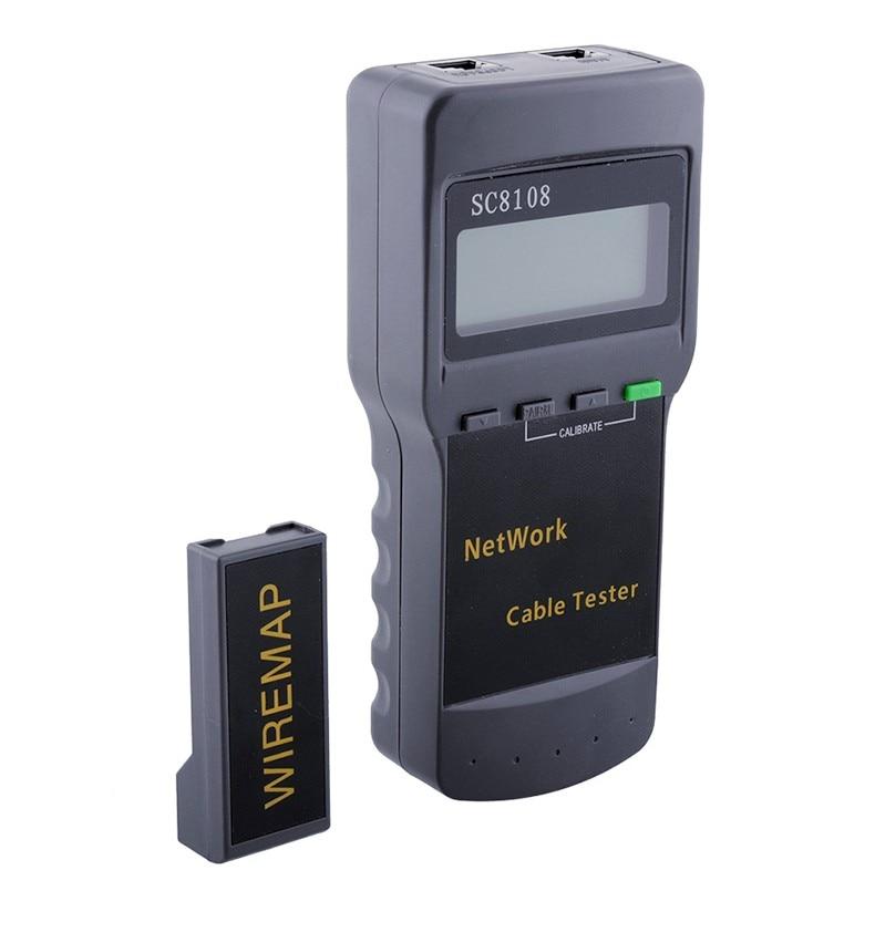 Medidor de probador de red de calidad, medidor de probador de Cable de teléfono LAN con pantalla LCD RJ45 SC8108, LCD portátil, envío gratis