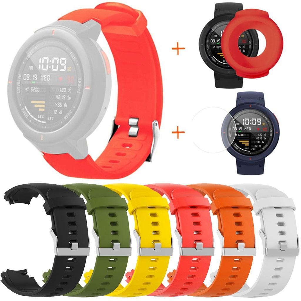 Funda con correa de reloj de silicona para Huami Amazfit Verge con Protector de pantalla, carcasa para reloj, accesorios