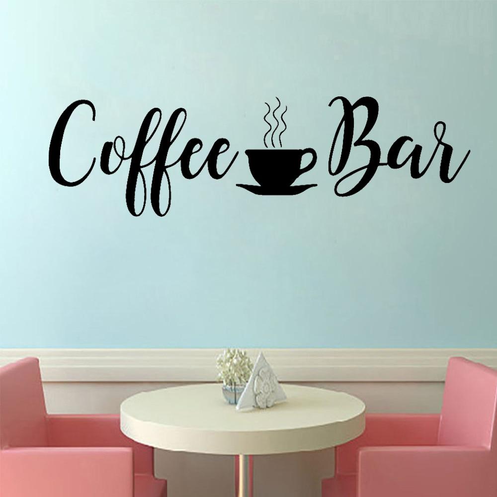Pegatinas de pared para cafetería, pegatinas de vinilo para cafetería, calcomanías para tazas, calcomanías para cocina, removible de decoración de habitación, adhesivo para Bar, cita