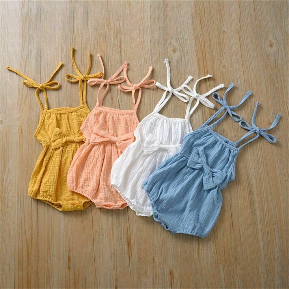 Baby Summer Clothing Newborn Baby Girl Cute Clothes Srap Romper Cotton Linen Solid Jumpsuit Bowknot
