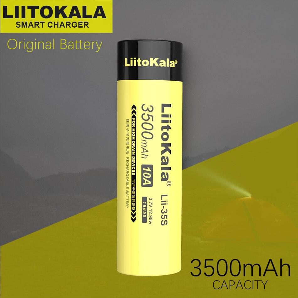 Batería LiitoKala 18650, Lii-35S de Lii-31S, batería de 3,7 V Li-ion 3500mAh 3100mA para dispositivos de alto drenaje
