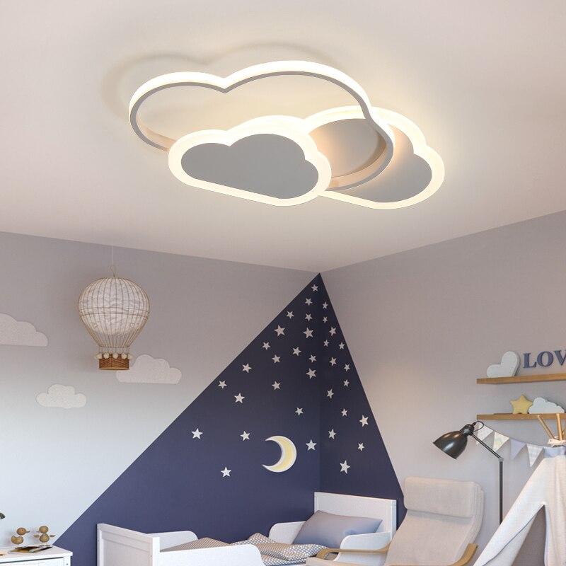 Led مصباح السقف لغرفة الأطفال غرفة نوم دراسة الحضانة الحديثة عكس الضوء الإبداعية الطفل سحابة أضواء الثريا تركيبات