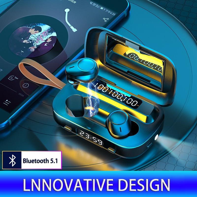 2020 nuevo estilo caliente F9 Auriculares inalámbricos con bluetooth módulo privado TWS estéreo auriculares LED de visualización de la energía del deporte táctil impermeable 5,0