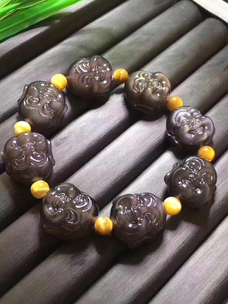 Natural obsidian gelo cor smiley buda único círculo pedras preciosas joyas takı bracele t preto opala contas de pedra preciosa peridot pedra