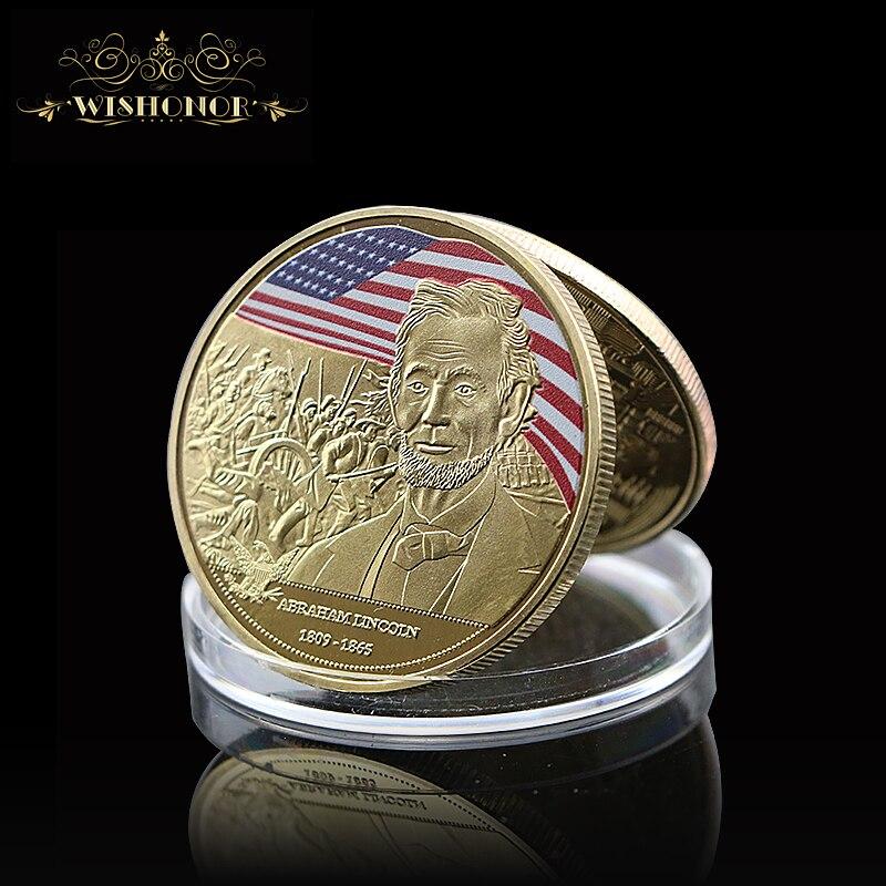 Moneda dorada plateada conmemorativa del 16 ° Presidente de los Estados Unidos,...