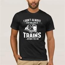 100% Cotton  brand men shirt Funny  Short sleeve Train Lover fashion summer mens T Shirt Train Watch