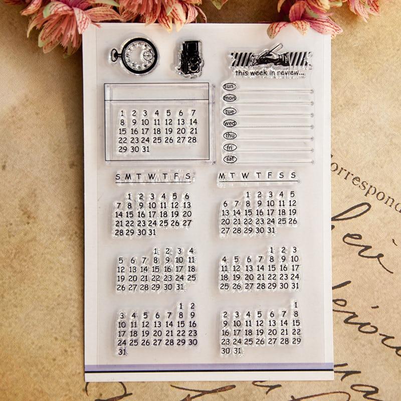Sellos transparentes claros del patrón del calendario perpetuo/sellos de silicona para Santa Claus DIY Scrapbooking hacer tarjetas de navidad