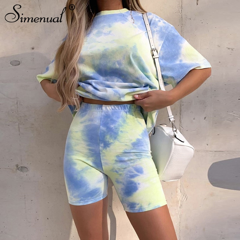 Simenual Tie Dye Casual Workout Women Co-ord Sets Short Sleeve Sporty Active Wear Fashion Outfit Summer Top And Biker Shorts Set