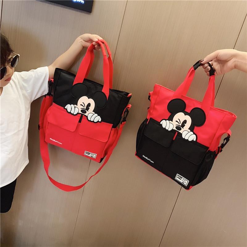 Bolso de nylon de Mickey mouse de Disney, mochila de estudiante de la escuela, bandolera mensajero para niños y niñas