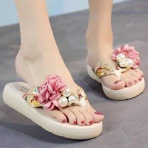 summer beach flip flops women's sandals Handmade flowers casual clip flat sandals slippers outside wearing women's shoes