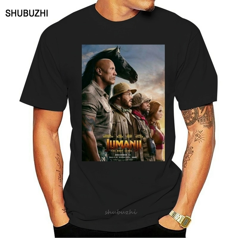 Jumanji el próximo nivel camiseta para hombres Hip Hop 100% ropa informal de algodón, Camiseta de algodón para hombres, camiseta de marca de verano, talla europea