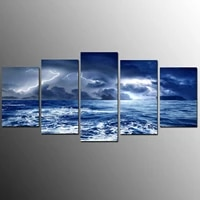 5 pcs canvas picture print wall art canvas painting wall decor for living room lightning sea storm sky cloud poster no framed