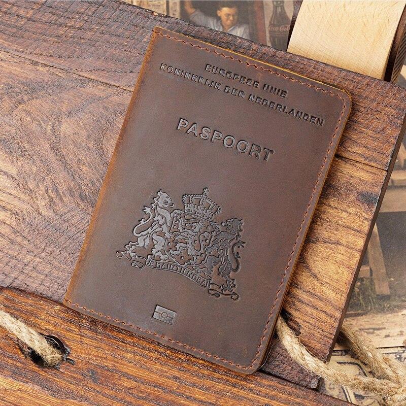 Genuine Leather Nederlands Passport Cover Men Leather Travel Passport holder nederland Business Travel Paspoort Hoesje недорого