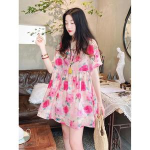 Baby Shirt Top Summer Loose Mid-length Literary Sweet Lace-up Fluffy Shirt Floral High-end Cotton  Linen Shirt Women Blouse