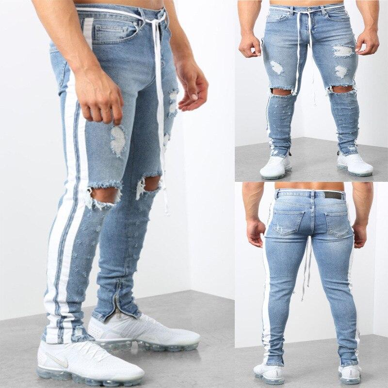 Мужские джинсы скинни с дырками, штаны-карандаш стрейч из денима, мужские осенние облегающие джинсы в полоску сбоку, уличная одежда