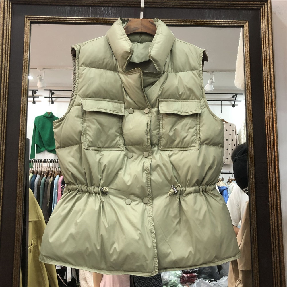 Winter Down Vest Women Solid Tight Waist Duck Down Sleeveless Jacket Warm Casual Korean Style Down Vest Jacket Coat winter new style ladies stand up collar lightweight down vest casual style down vest women s big pocket fashion solid color vest