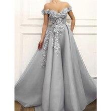 Charmant gris robes de soirée 2020 a-ligne hors de lépaule fleurs Appliques dubaï saoudien arabe longues robes de soirée de bal