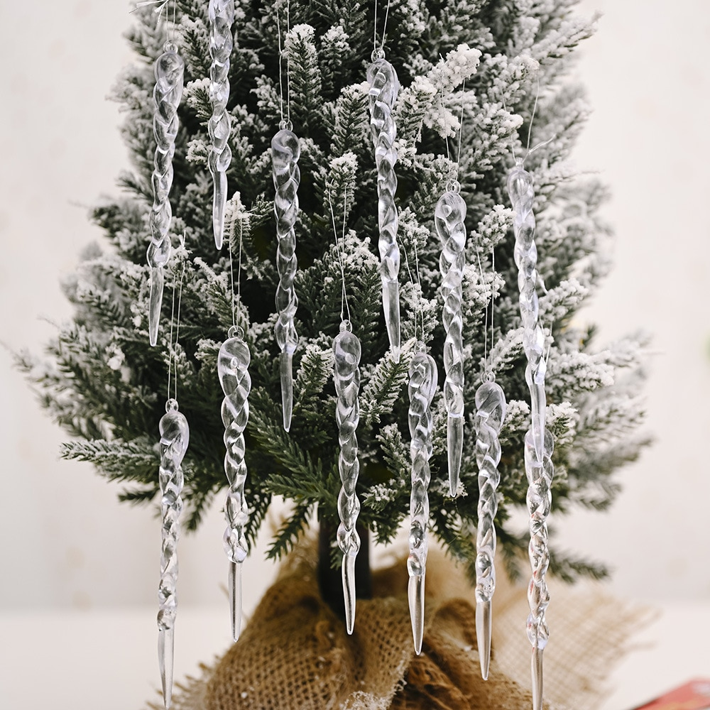 12Pcs Simulation Icicle Christmas Merry Decorations for Home Tree New Year Ornaments