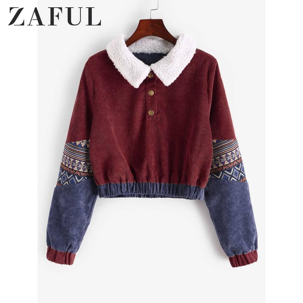 Zaful casaco feminino gráfico camisola de colheita de veludo pullovers de algodão vintage abotoado camisolas soltas curto quente topos outwear