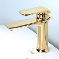 bathroom basin faucets solid brass sink mixer tap hot cold single handle deck mounted goldchrome lavatory water crane taps
