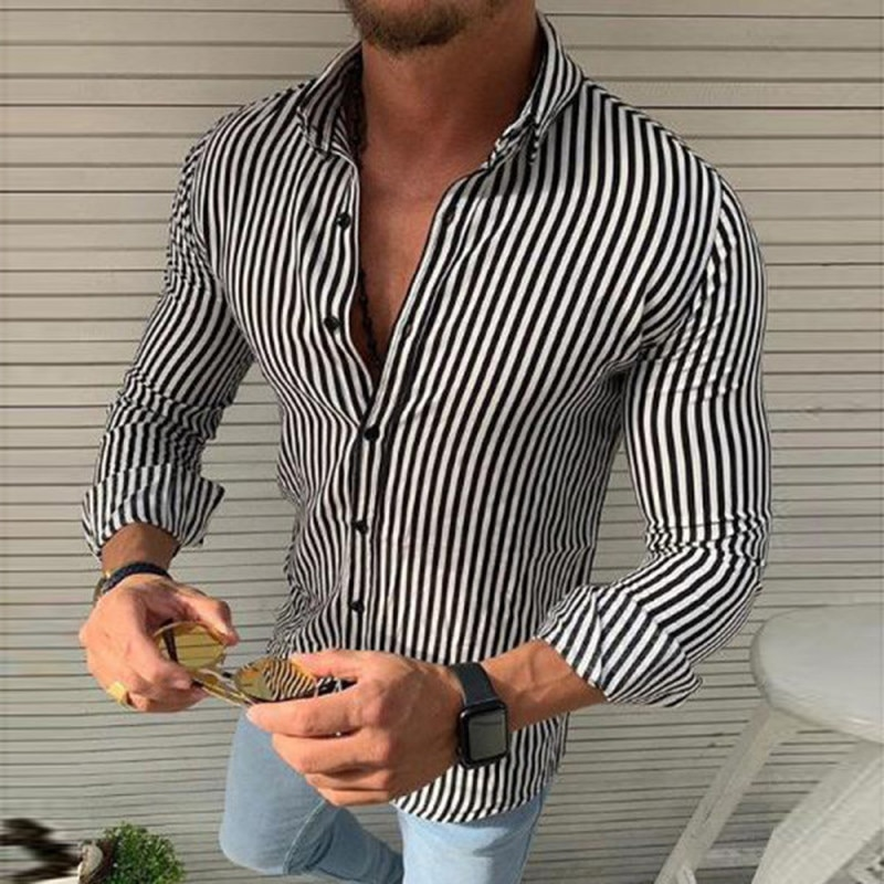 Shirts for Men Stripped Long Sleeve Tops Autumn 2021 Mens Fashion Clothing Trends Casual Slim FIt Button Down Top Shirt