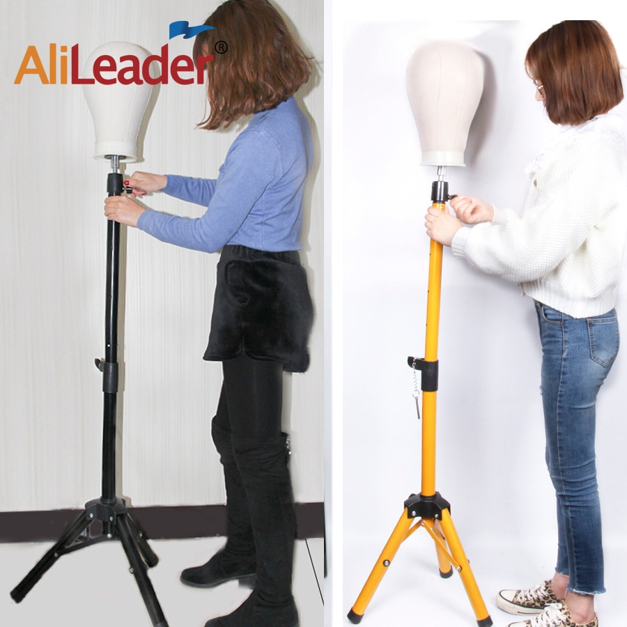 1pcs blue color hair salon adjustable aluminum tripod stand mannequin training head holder wig stand clamp Alileader 45 Inch Adjustable Tripod Stand Professional Wig Display Salon Mold Hair Clamp Holder Mannequin Head Stands Gold Color