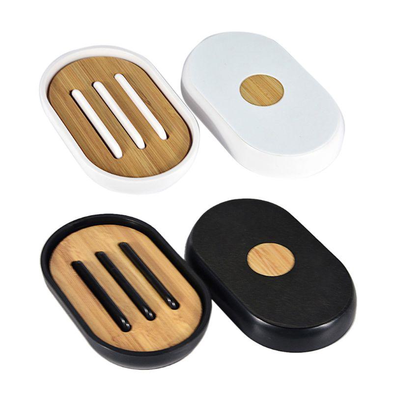 Plateau support boîte de rangement en bambou   Porte-savon, compartiments à vaisselle, assiette de douche, malle de rangement, conteneur avec couvercle pour la maison, salle de bain