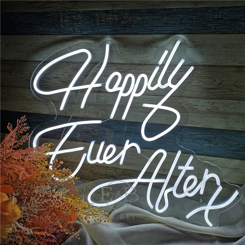 Custom Flex Led Cool Light 12V Happily Ever After X Acrylic Neon Sign Home Room Decoration Ins Party Wedding